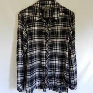 Michael Stars Flannel Boyfriend Shirtl Medium